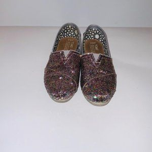Toms 6.5 Bright Multi Glitter Sneakers